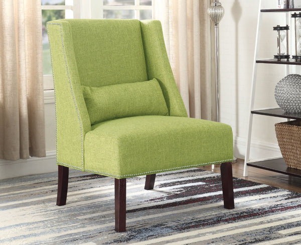 Handsome Green Accent Chair With Nailhead Trim