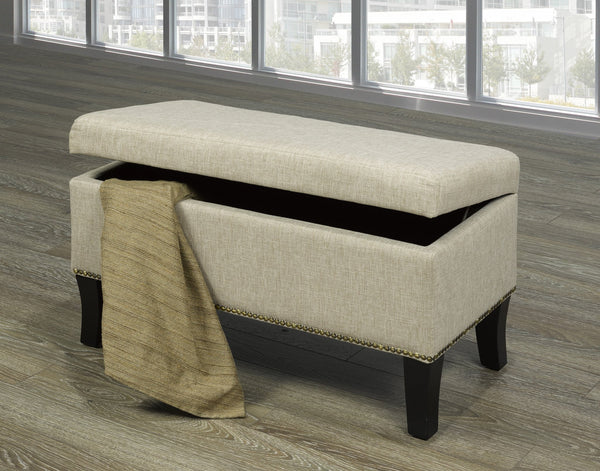 Fabric Covered Bench with Nail Heads and storage (5 Designs)