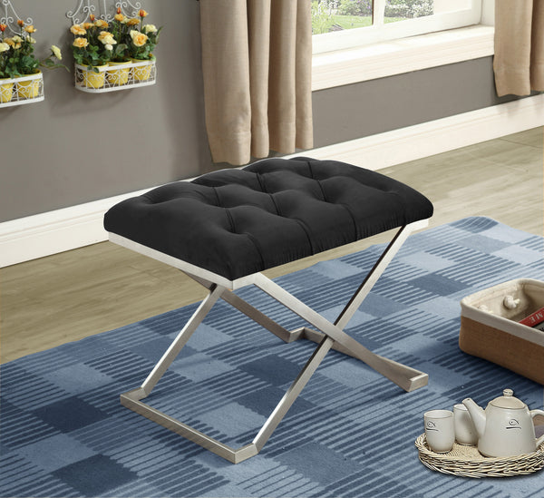 Boujee Black Velvet Fabric Ottoman with Stainless Steel Legs