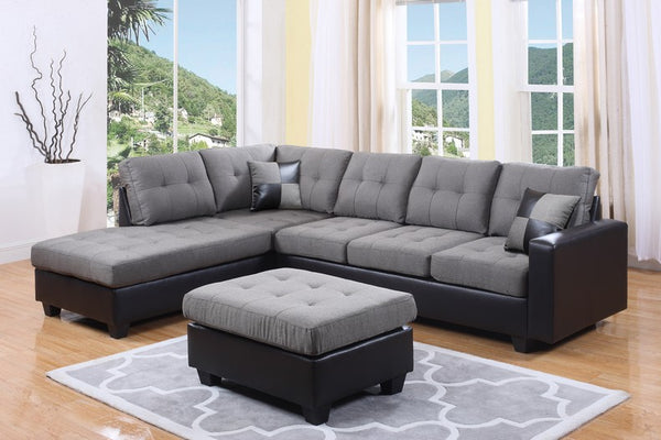 Easy Rider Grey Fabric Sectional With Over sized Seat Back Cushions and Two Accent Pillows