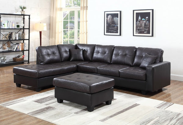 Easy Rider Espresso Sectional With Over sized Seat Back Cushions and Two Accent Pillows