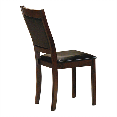Espresso Dining Chair with Black PU Seats