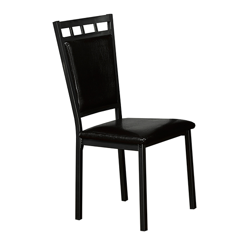 Gun Metal Dining Chair with Black PU Seats