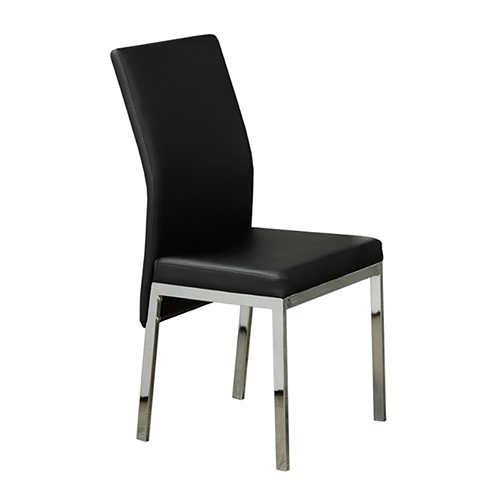 Black Cushion Dining Chair with Chrome Legs
