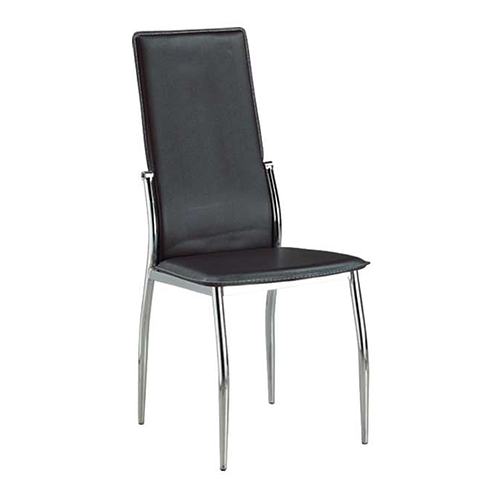 Chrome Legs and Black PU Seats Dining chair