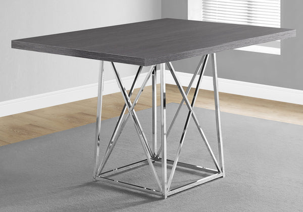 "Dining Table - 36""X 48"" / Grey / Chrome Metal"