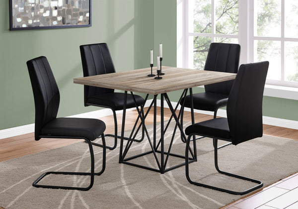 "Dining Table - 36""X 48"" / Taupe Reclaimed Wood-Look/Black"