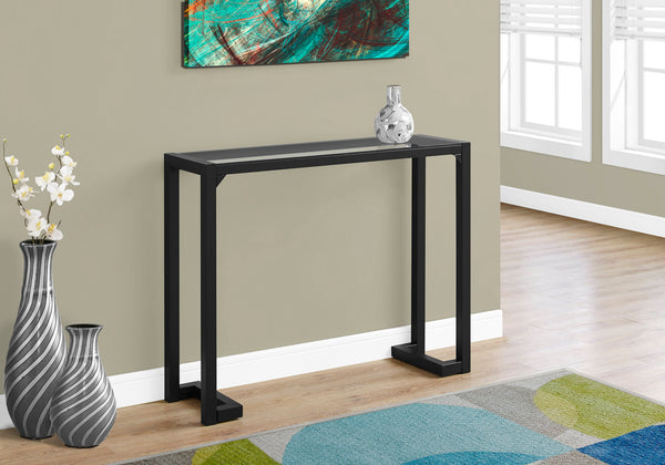 "Accent Table - 42""L / Black / Tempered Glass Hall Console"