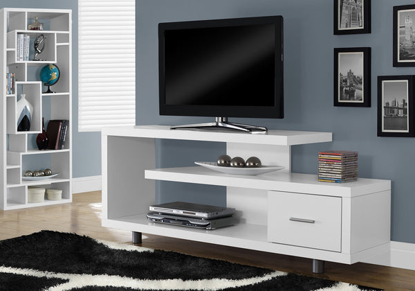 "60""L White With 1 Drawer Tv Stand"
