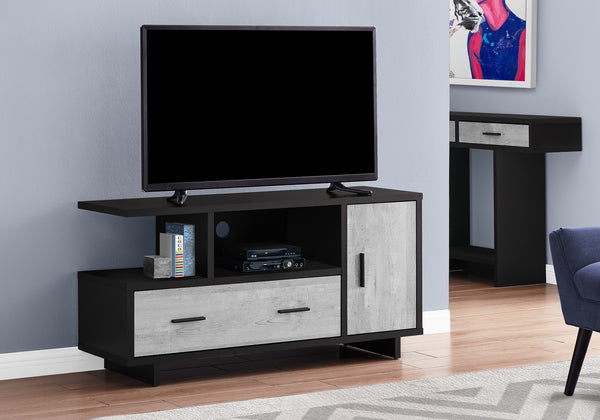 "Tv Stand - 48""L / Black / Grey Reclaimed Wood-Look"