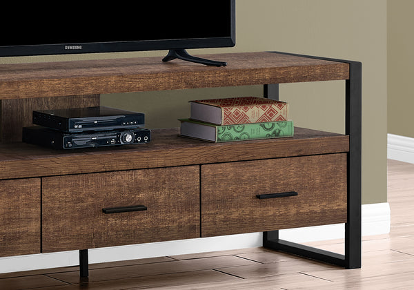 "Tv Stand - 60""L / Brown Reclaimed Wood-Look / 3 Drawers"
