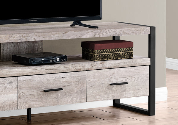 "Tv Stand - 60""L / Taupe Reclaimed Wood-Look / 3 Drawers"