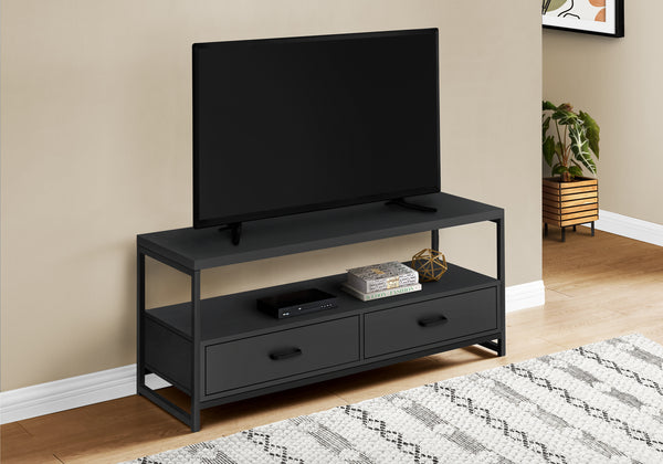 "TV STAND - 48""L / BLACK / BLACK METAL"