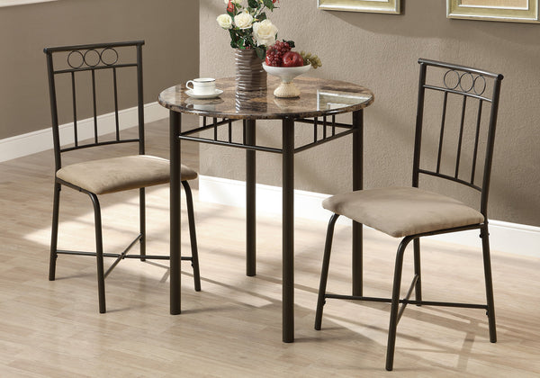 3 Pcs Cappuccino Marble Bronze Metal Dining Set
