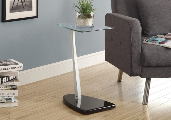 Accent Table - Glossy Black / Silver With Tempered Glass