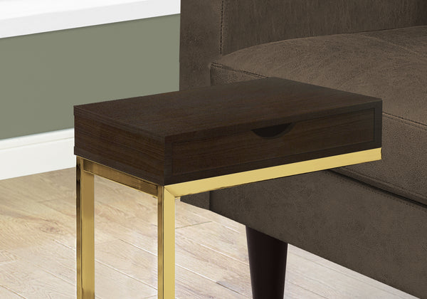 Accent Table - Cappuccino / Gold Metal With A Drawer