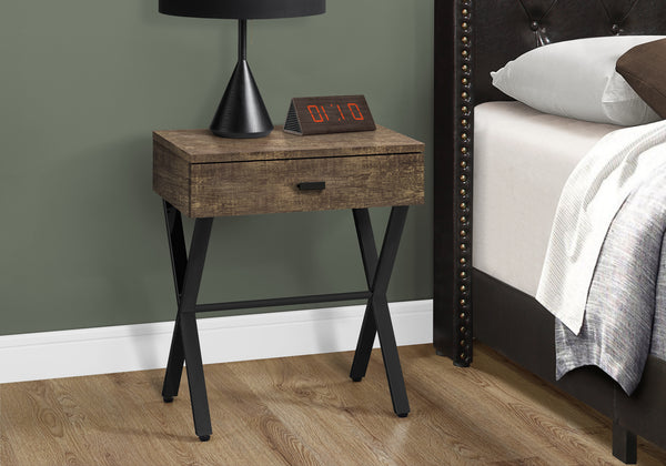 "Accent Table - 24""H / Brown Reclaimed Wood / Black Metal"