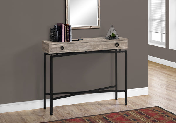 "Accent Table - 42""L / Taupe Reclaimed Wood/ Black Console"