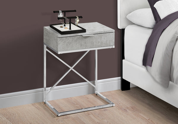 "Accent Table - 24""H / Grey Cement / Chrome Metal"