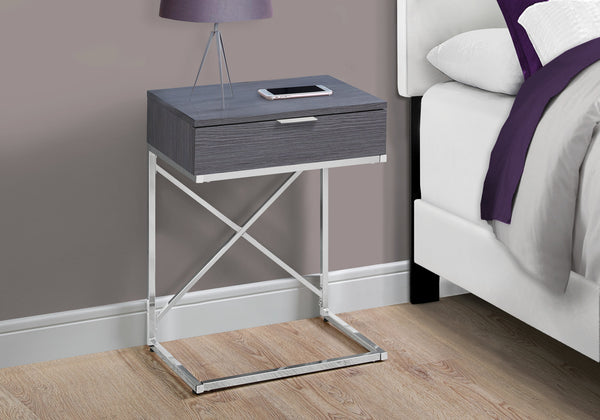 "Accent Table - 24""H / Grey / Chrome Metal"