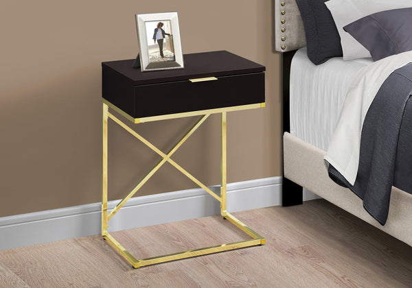 "Accent Table - 24""H / Cappuccino / Gold Metal"