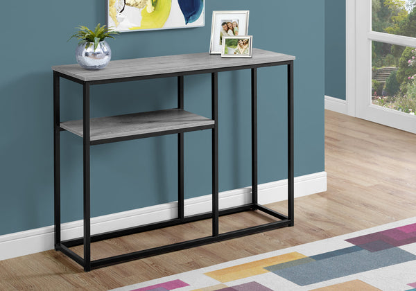 "Accent Table - 42""L / Grey / Black Metal Hall Console"