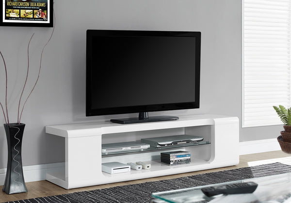 "60""L High Glossy White With Tempered Glass Tv Stand"