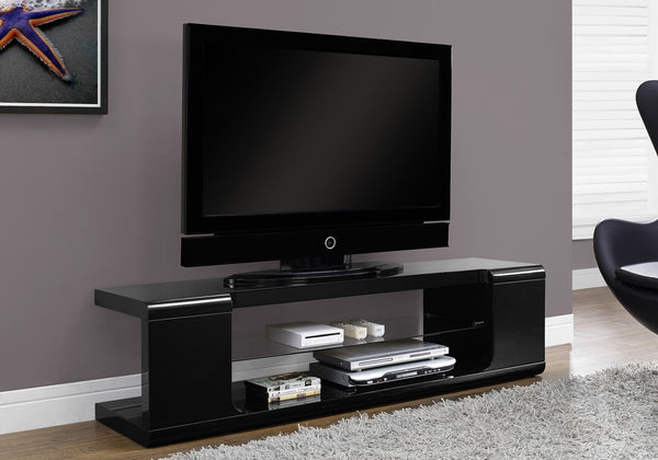 "60""L High Glossy Black With Tempered Glass Tv Stand"