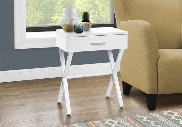 "ACCENT TABLE - 24""H / WHITE / WHITE METAL"