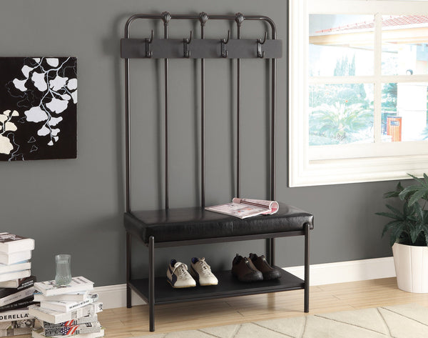 "60""H Charcoal Grey Metal Hall Entry Bench"