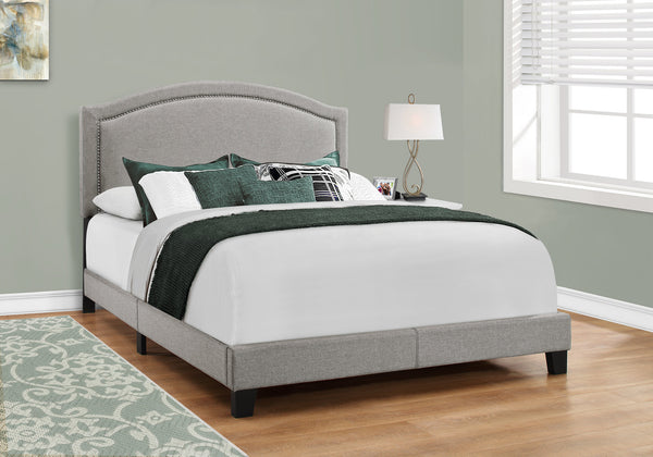 Bed - Queen Size / Grey Linen With Chrome Trim