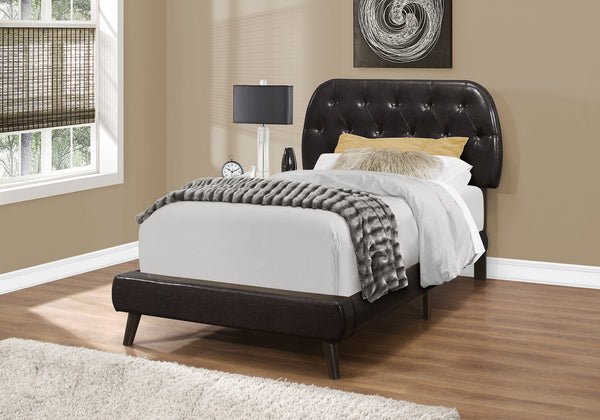 Bed - Twin Size / Brown Leather-Look With Wood Legs