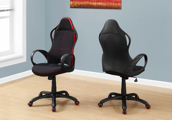 Office Chair - Black / Red Fabric / Multi Position