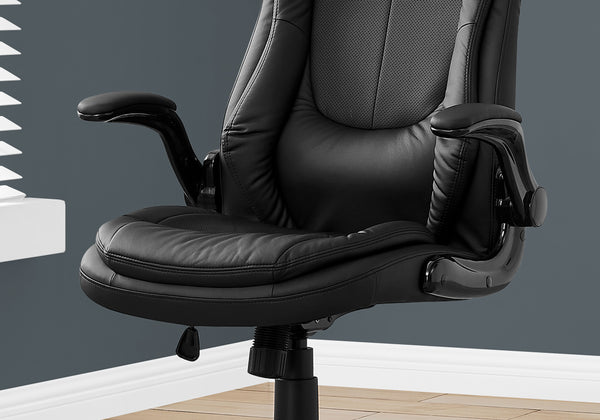 Office Chair - Black Leather-Look / High Back Executive