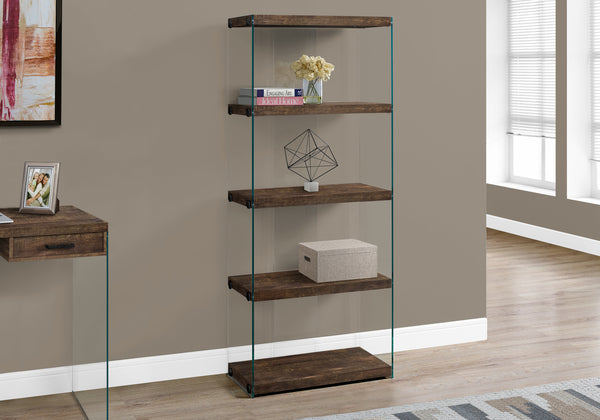 "Bookcase - 60""H / Brown Reclaimed Wood-Look /Glass Panels"
