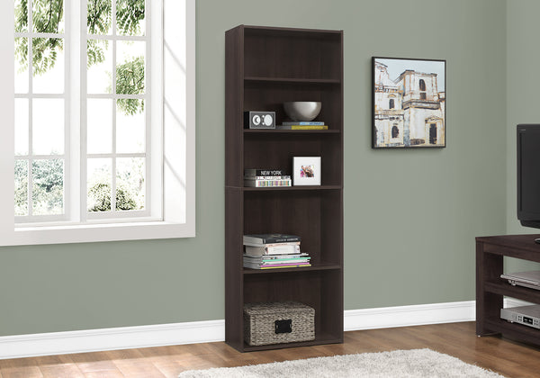 "Bookcase - 72""H / Cappuccino With 5 Shelves"