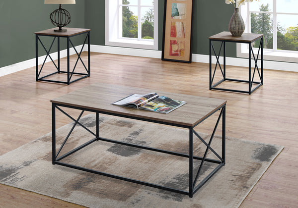 Table Set - 3Pcs Set / Dark Taupe / Black Metal