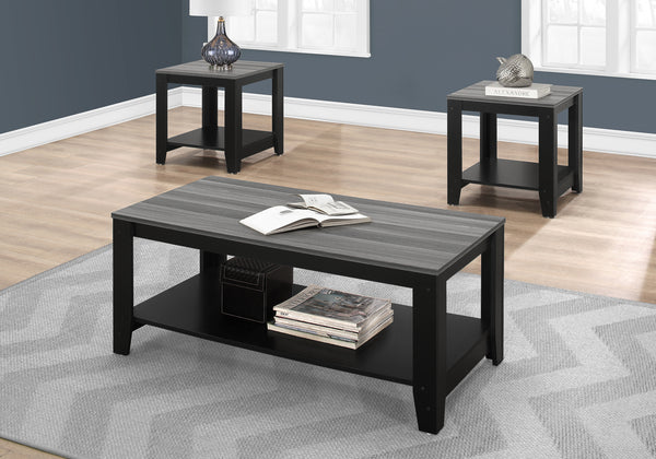 Table Set - 3Pcs Set / Black / Grey Top
