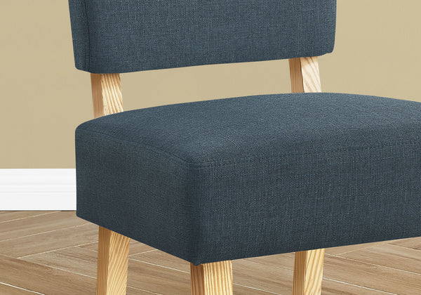 Accent Chair - Blue Fabric / Natural Wood Legs