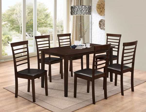Simple Dark-wood Table Top with Matching Pane-Back chairs (5 or 7 Pcs)