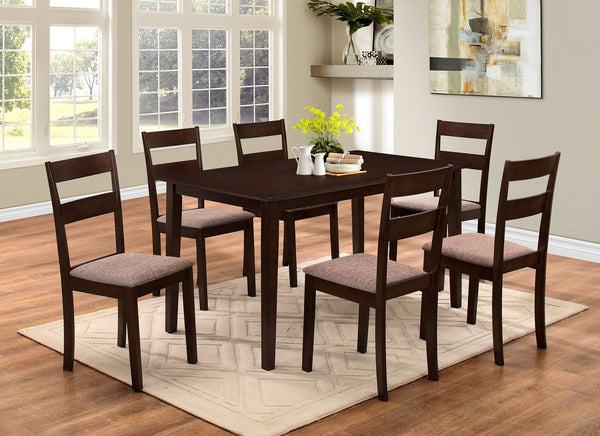 5 and 7 Pcs Dark-wood Table Top with Matching Straight-Back chairs - Fabric Cushions
