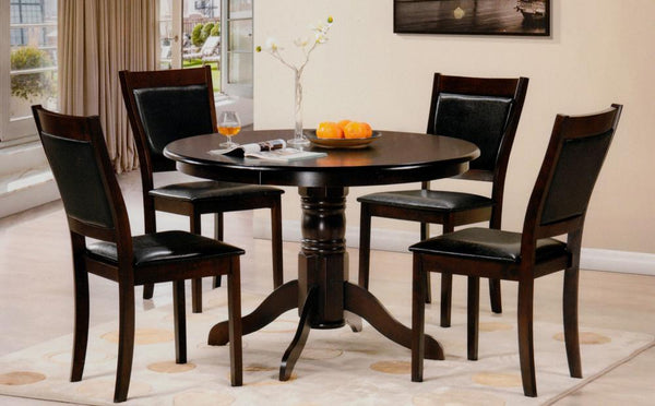 5 Piece solid-Wood Pedestal Table Set with Full Black PU Seats