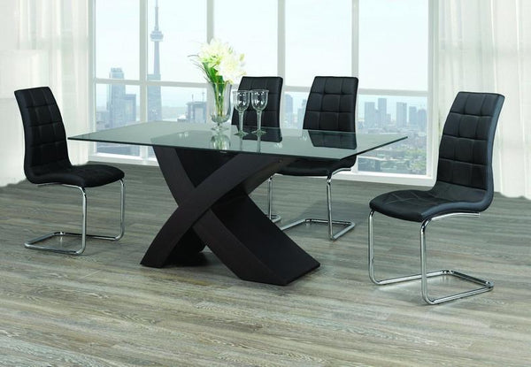 "Glass top set with ""X"" Shape Espresso Base and Upholstered Black Chairs"