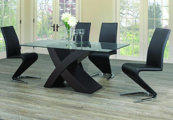 "Glass top set with ""X"" Shape Espresso Base and Upholstered Black 'Z' Shaped Chairs"