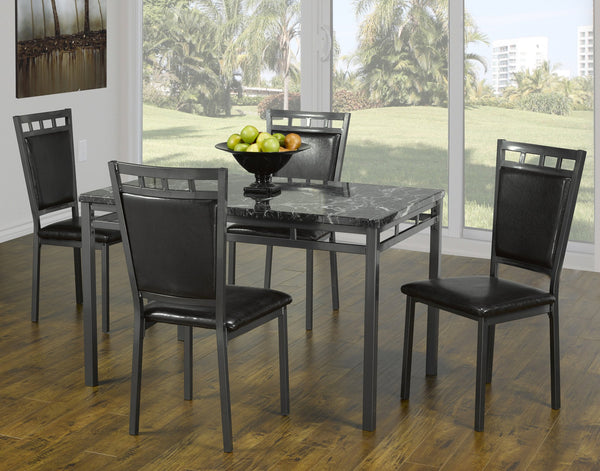 Grey Faux Marble Top Dining set with Grey-Metal Chairs and Leatherette Padding