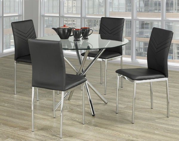 Glass Top Table with Twisting Chrome Legs with Black V-designed Leatherette Chairs