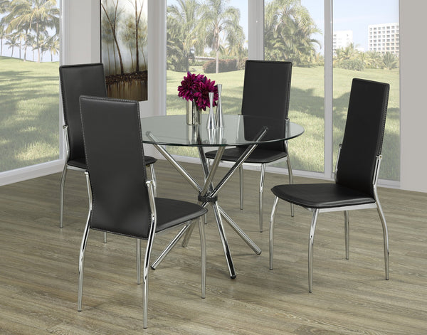 Glass Top Table with Twisting Chrome Legs and Chrome/Leatherette chairs