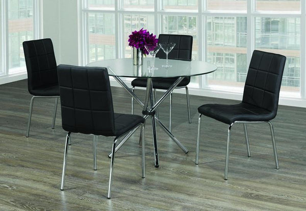 Glass Top Table with Twisting Chrome Legs and Black Upholstered Chairs with Squared Design