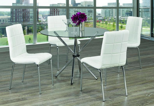 Glass Top Table with Twisting Chrome Legs and White Upholstered Chairs with Squared Design