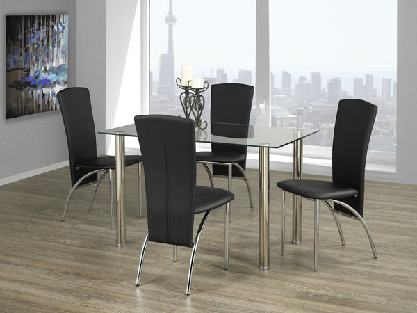 Simple Glass Top Table Set with Black High-Back Leatherette Chairs and Chrome Legs